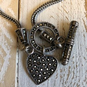 Jewelry - Vintage Sterling & Marcasite Toggled Heart
